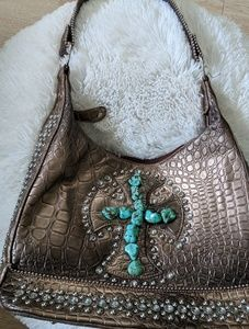 Country Road Brown Turquoise Studded Shoulder Bag